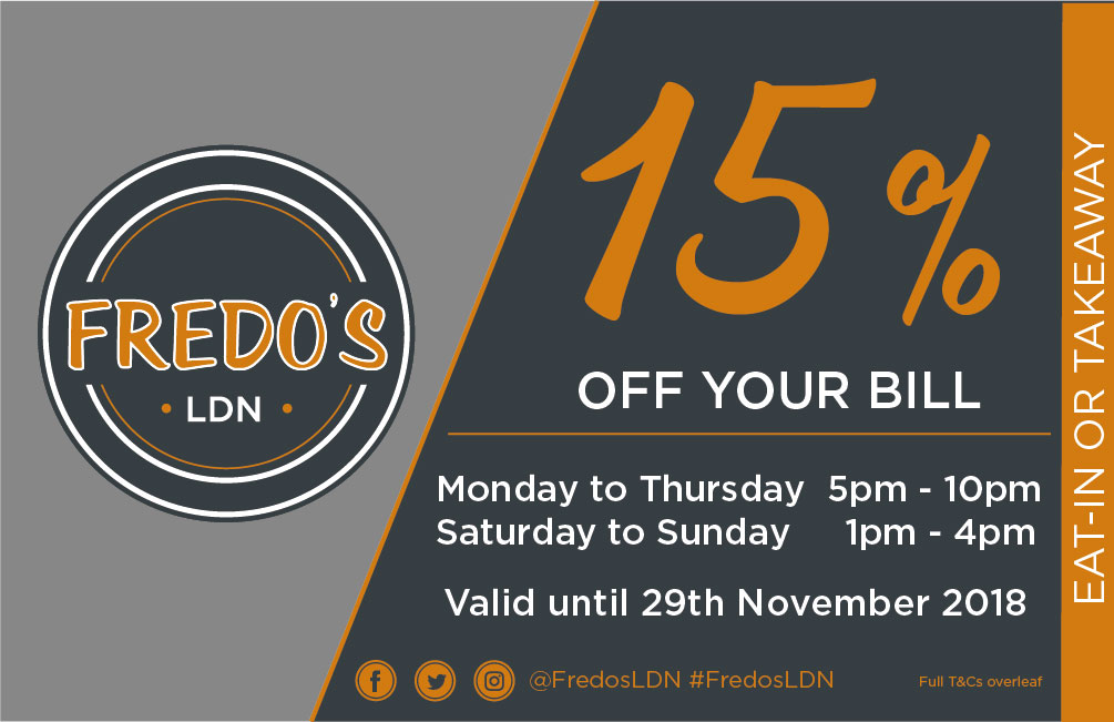 Offers Terms and Conditions Fredos Promotion Card October 18 2 02 1